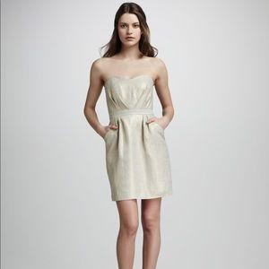 Shoshanna gold thread mini dress strapless